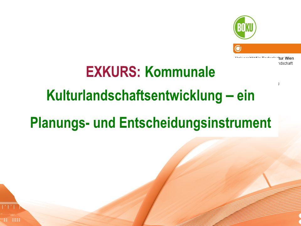 Universität für Bodenkultur Wien Department für Raum, Landschaft und Infrastruktur Institut für Raumplanung und ländliche Neuordnung EXKURS: Kommunale