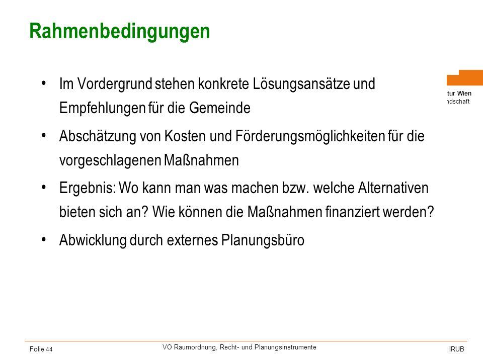 Universität für Bodenkultur Wien Department für Raum, Landschaft und Infrastruktur IRUB VO Raumordnung, Recht- und Planungsinstrumente Folie 44 Rahmen