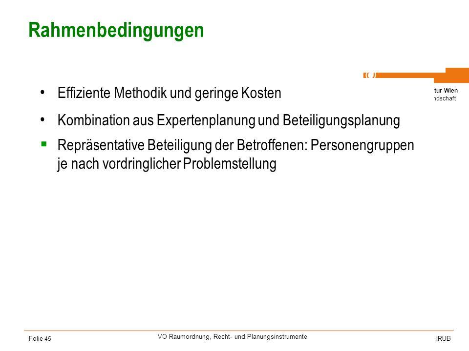 Universität für Bodenkultur Wien Department für Raum, Landschaft und Infrastruktur IRUB VO Raumordnung, Recht- und Planungsinstrumente Folie 45 Rahmen