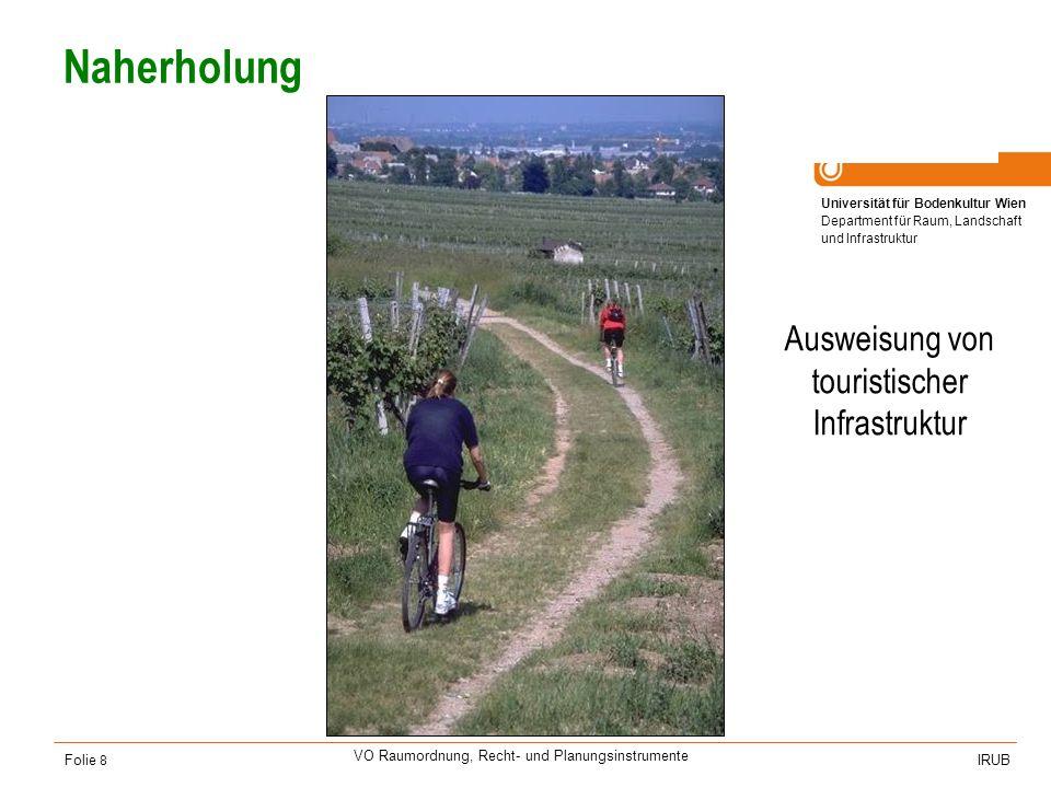 Universität für Bodenkultur Wien Department für Raum, Landschaft und Infrastruktur IRUB VO Raumordnung, Recht- und Planungsinstrumente Folie 9 Anrainerkonflikte