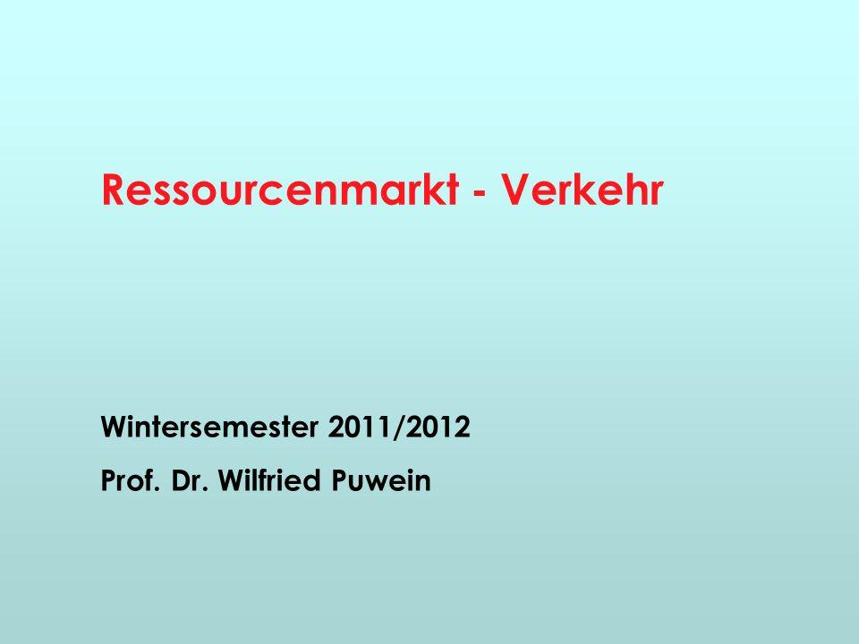 Ressourcenmarkt - Verkehr Wintersemester 2011/2012 Prof. Dr. Wilfried Puwein