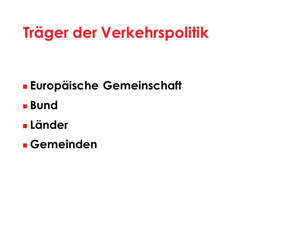 Träger der Verkehrspolitik Europäische Gemeinschaft Bund Länder Gemeinden