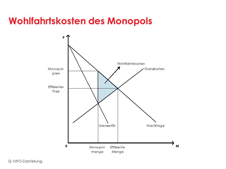 Wohlfahrtskosten des Monopols Q: WIFO-Darstellung.