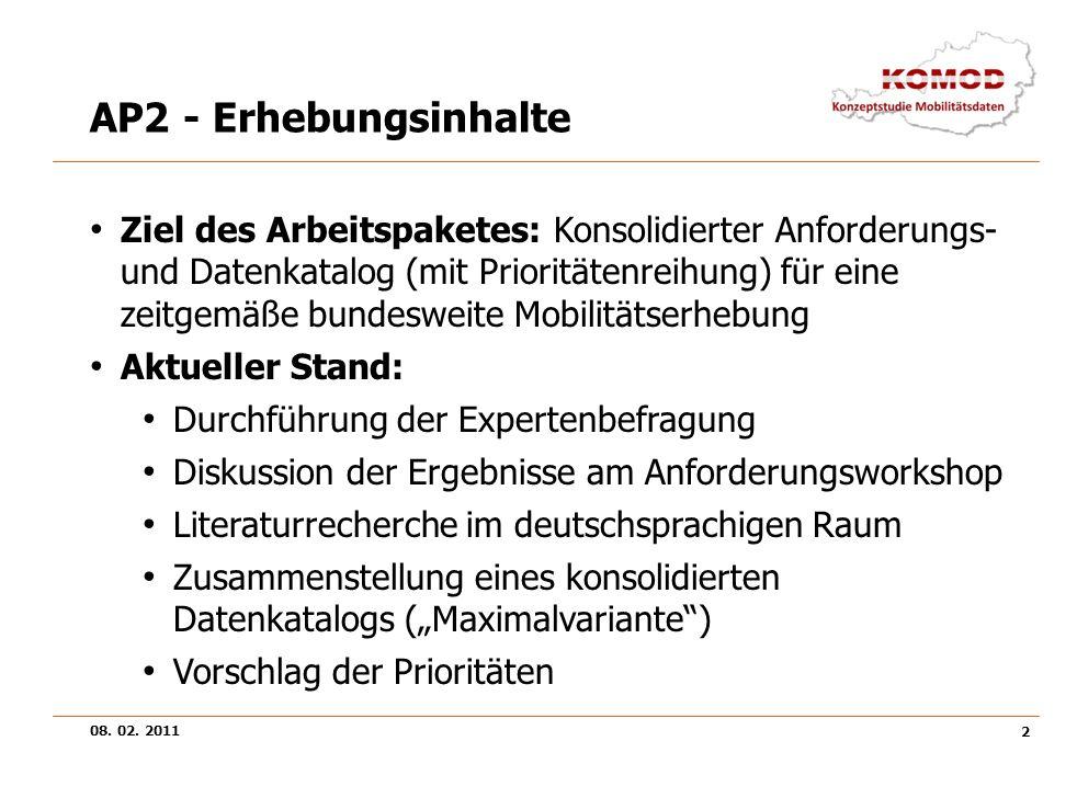 08. 02. 2011 2 AP2 - Erhebungsinhalte Ziel des Arbeitspaketes: Konsolidierter Anforderungs- und Datenkatalog (mit Prioritätenreihung) für eine zeitgem