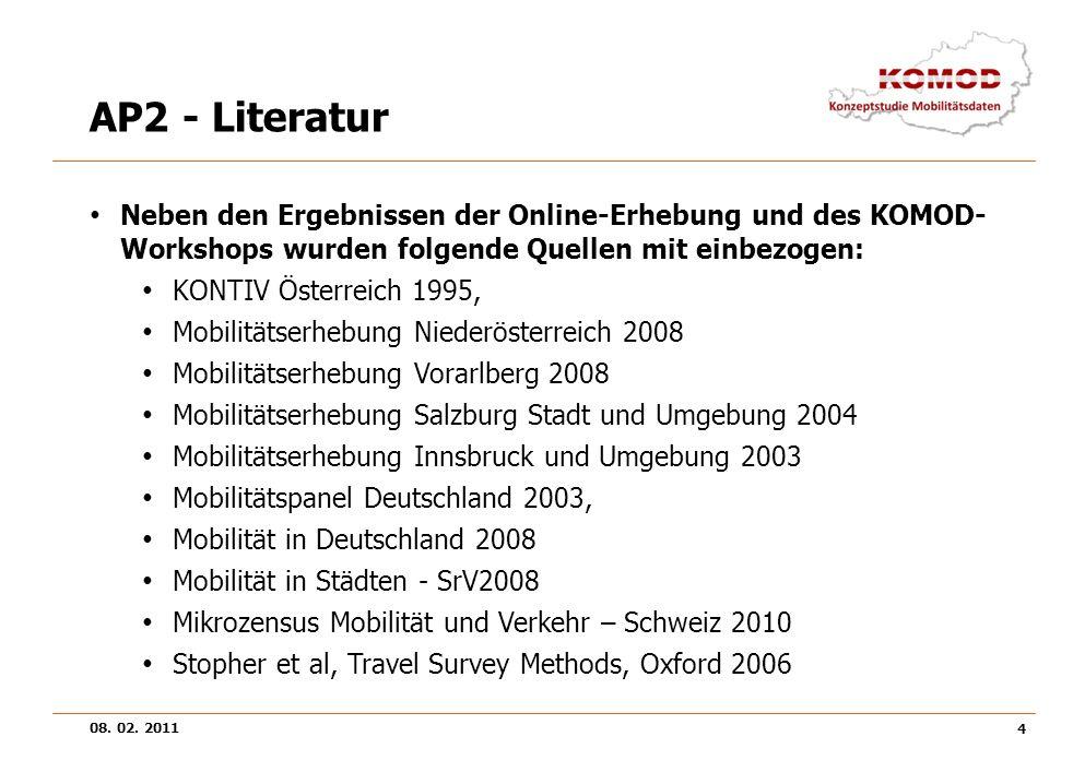 08. 02. 2011 4 AP2 - Literatur Neben den Ergebnissen der Online-Erhebung und des KOMOD- Workshops wurden folgende Quellen mit einbezogen: KONTIV Öster