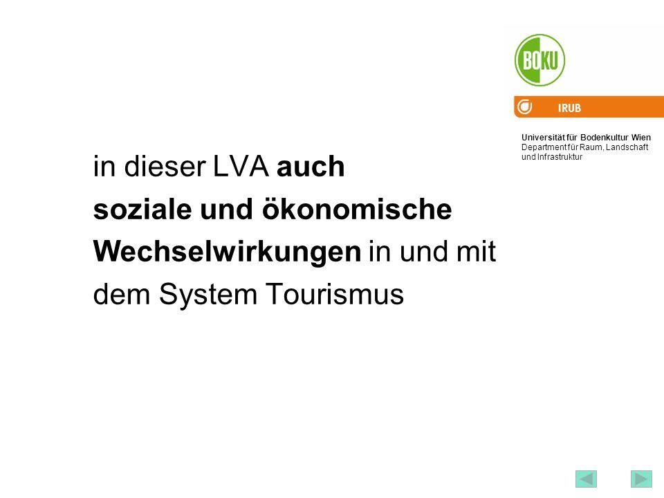 Universität für Bodenkultur Wien Department für Raum, Landschaft und Infrastruktur IRUB 15 in dieser LVA auch soziale und ökonomische Wechselwirkungen
