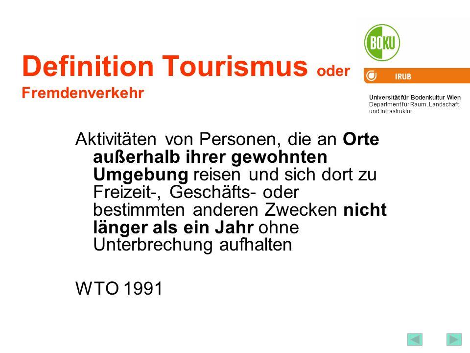 Universität für Bodenkultur Wien Department für Raum, Landschaft und Infrastruktur IRUB 17 Definition Tourismus oder Fremdenverkehr Aktivitäten von Pe