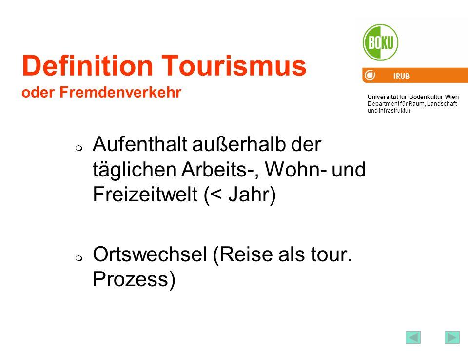 Universität für Bodenkultur Wien Department für Raum, Landschaft und Infrastruktur IRUB 18 Definition Tourismus oder Fremdenverkehr Aufenthalt außerhalb der täglichen Arbeits-, Wohn- und Freizeitwelt (< Jahr) Ortswechsel (Reise als tour.