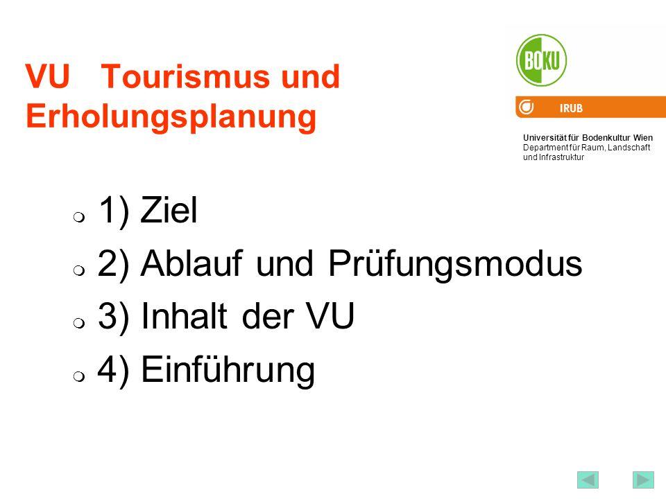 Universität für Bodenkultur Wien Department für Raum, Landschaft und Infrastruktur IRUB 2 VU Tourismus und Erholungsplanung 1) Ziel 2) Ablauf und Prüf