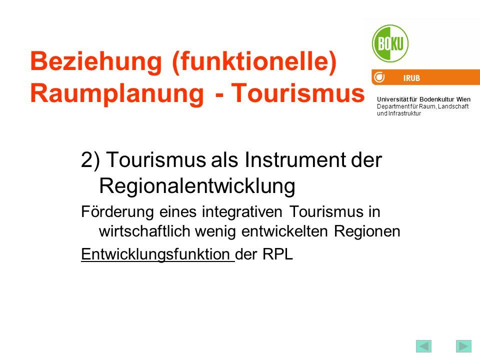 Universität für Bodenkultur Wien Department für Raum, Landschaft und Infrastruktur IRUB 21 Beziehung (funktionelle) Raumplanung - Tourismus 2) Tourismus als Instrument der Regionalentwicklung Förderung eines integrativen Tourismus in wirtschaftlich wenig entwickelten Regionen Entwicklungsfunktion der RPL
