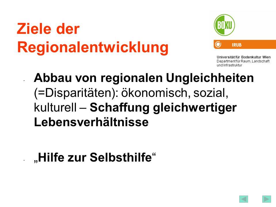 Universität für Bodenkultur Wien Department für Raum, Landschaft und Infrastruktur IRUB 22 Ziele der Regionalentwicklung - Abbau von regionalen Unglei