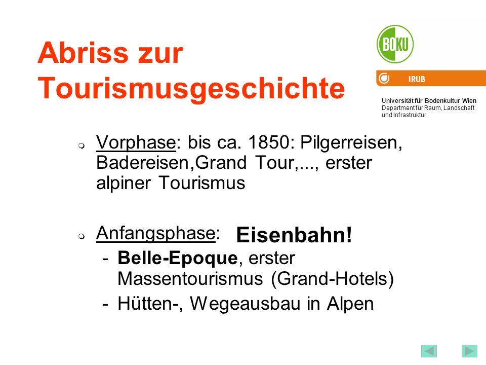 Universität für Bodenkultur Wien Department für Raum, Landschaft und Infrastruktur IRUB 29 Abriss zur Tourismusgeschichte Vorphase: bis ca. 1850: Pilg
