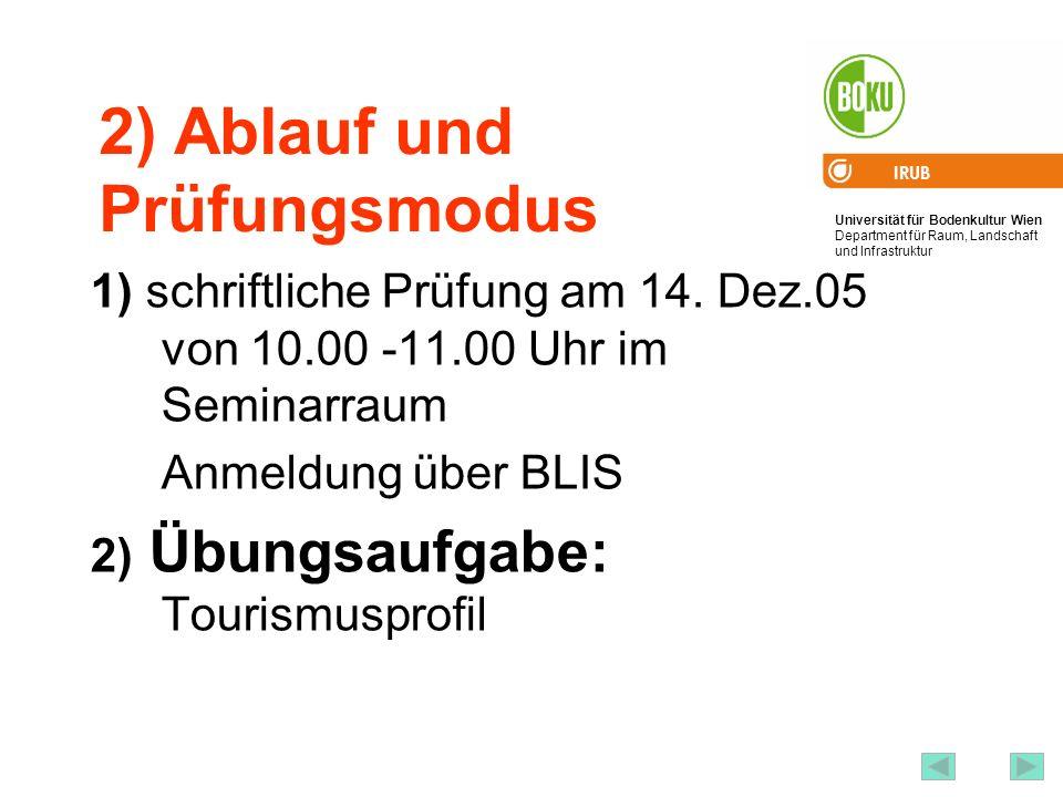 Universität für Bodenkultur Wien Department für Raum, Landschaft und Infrastruktur IRUB 4 2) Ablauf und Prüfungsmodus 1) schriftliche Prüfung am 14.