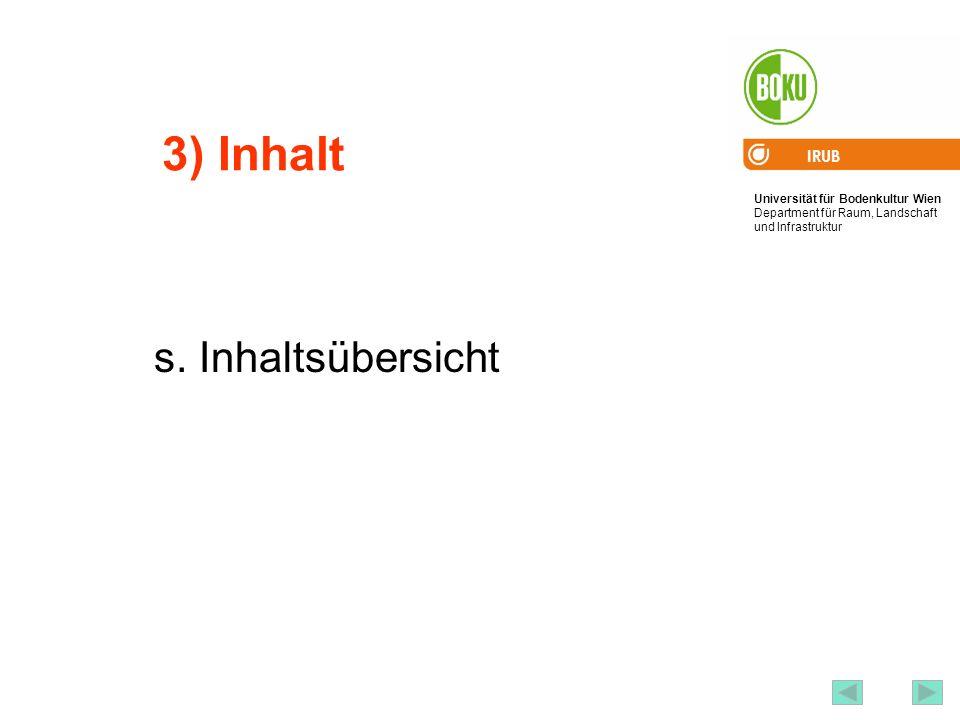 Universität für Bodenkultur Wien Department für Raum, Landschaft und Infrastruktur IRUB 5 3) Inhalt s. Inhaltsübersicht