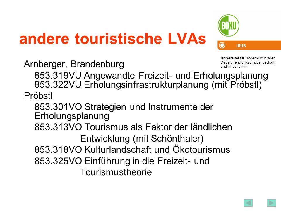 Universität für Bodenkultur Wien Department für Raum, Landschaft und Infrastruktur IRUB 67 Quellen Österreich Werbung http://www.austria-tourism.at/ Tiscover (Internetplattform von Tourismusanbietern): http://www.tiscover.com/ WIFO http://www.wifo.ac.at/cgi-bin/tabellen/tabhome.cgi http://www.wifo.ac.at/cgi-bin/tabellen/tabhome.cgi dann Punkt 10.