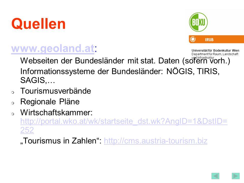 Universität für Bodenkultur Wien Department für Raum, Landschaft und Infrastruktur IRUB 64 Quellen www.geoland.atwww.geoland.at: Webseiten der Bundesl