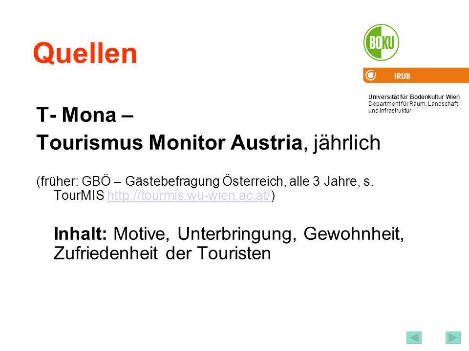 Universität für Bodenkultur Wien Department für Raum, Landschaft und Infrastruktur IRUB 66 Quellen T- Mona – Tourismus Monitor Austria, jährlich (früher: GBÖ – Gästebefragung Österreich, alle 3 Jahre, s.
