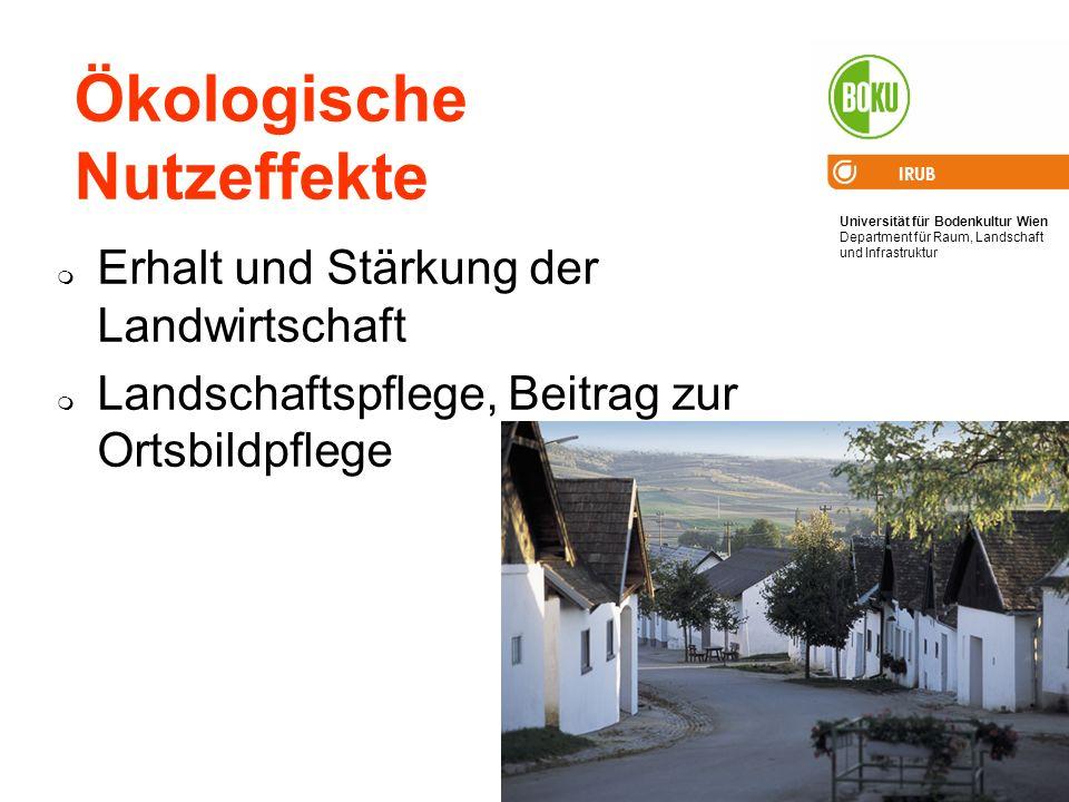 Universität für Bodenkultur Wien Department für Raum, Landschaft und Infrastruktur IRUB 75 Ökologische Nutzeffekte Erhalt und Stärkung der Landwirtsch