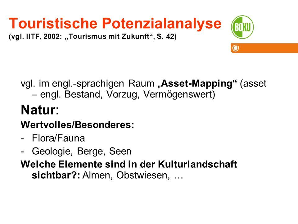 Touristische Potenzialanalyse (vgl.IITF, 2002: Tourismus mit Zukunft, S.