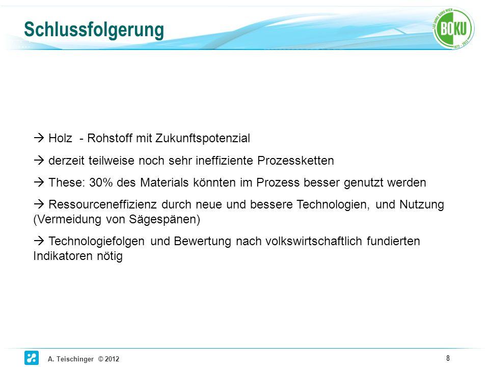 A. Teischinger © 2012 8 Schlussfolgerung Holz - Rohstoff mit Zukunftspotenzial derzeit teilweise noch sehr ineffiziente Prozessketten These: 30% des M
