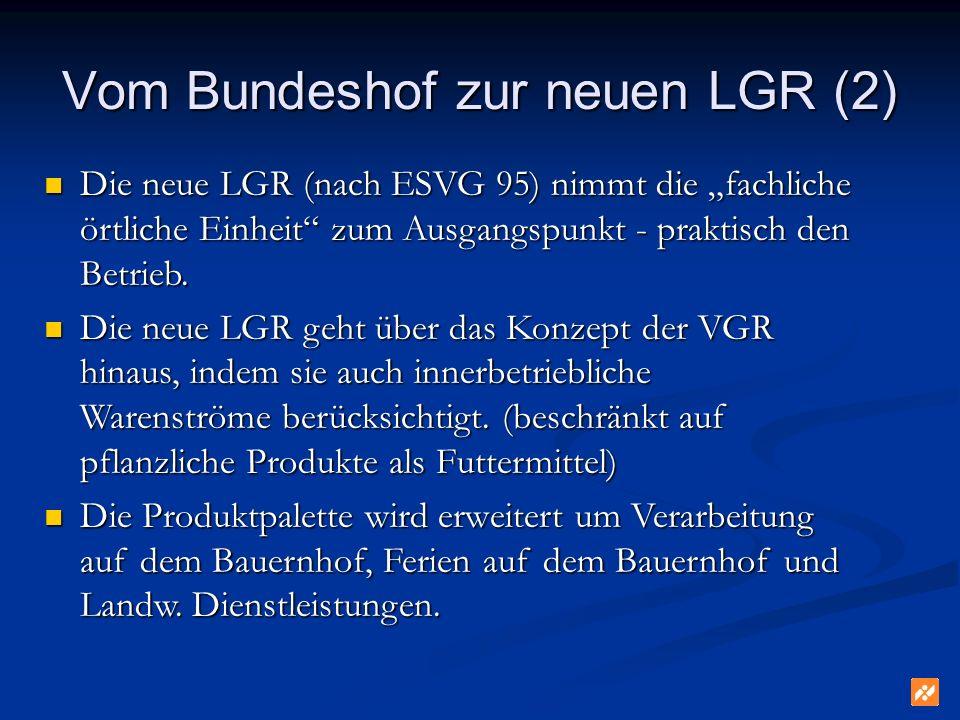 Vom Bundeshof zur neuen LGR (2) Die neue LGR (nach ESVG 95) nimmt die fachliche örtliche Einheit zum Ausgangspunkt - praktisch den Betrieb.