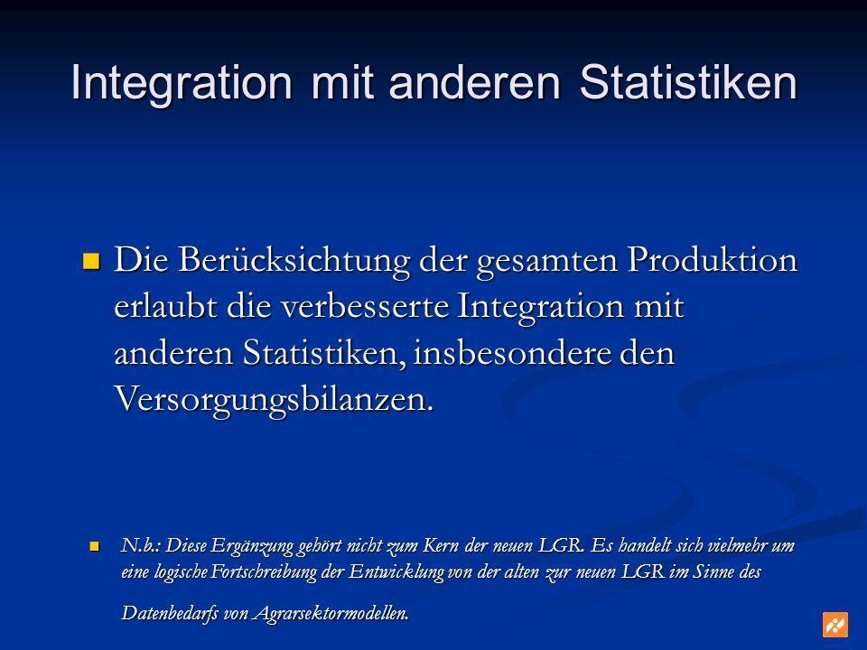 Integration mit anderen Statistiken Die Berücksichtung der gesamten Produktion erlaubt die verbesserte Integration mit anderen Statistiken, insbesondere den Versorgungsbilanzen.