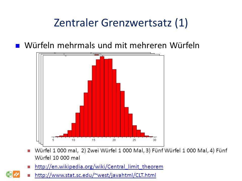 Zentraler Grenzwertsatz (1) Würfeln mehrmals und mit mehreren Würfeln Würfel 1 000 mal, 2) Zwei Würfel 1 000 Mal, 3) Fünf Würfel 1 000 Mal, 4) Fünf Würfel 10 000 mal http://en.wikipedia.org/wiki/Central_limit_theorem http://www.stat.sc.edu/~west/javahtml/CLT.html