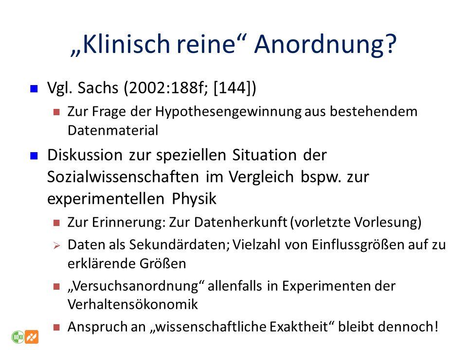 Klinisch reine Anordnung.Vgl.