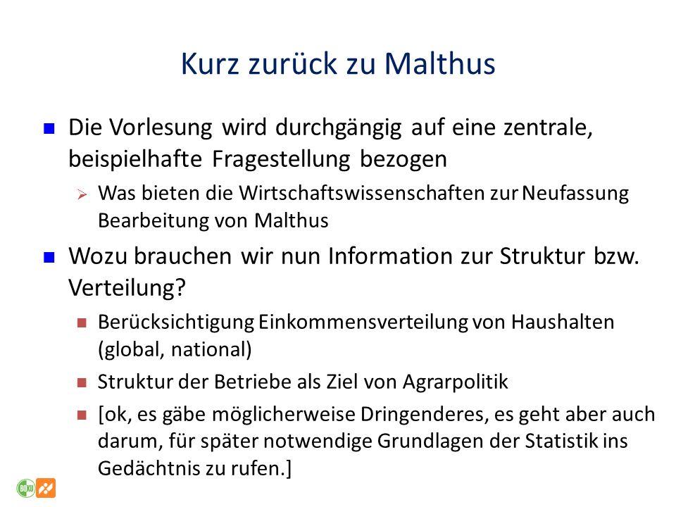 Kurz zurück zu Malthus Die Vorlesung wird durchgängig auf eine zentrale, beispielhafte Fragestellung bezogen Was bieten die Wirtschaftswissenschaften zur Neufassung Bearbeitung von Malthus Wozu brauchen wir nun Information zur Struktur bzw.