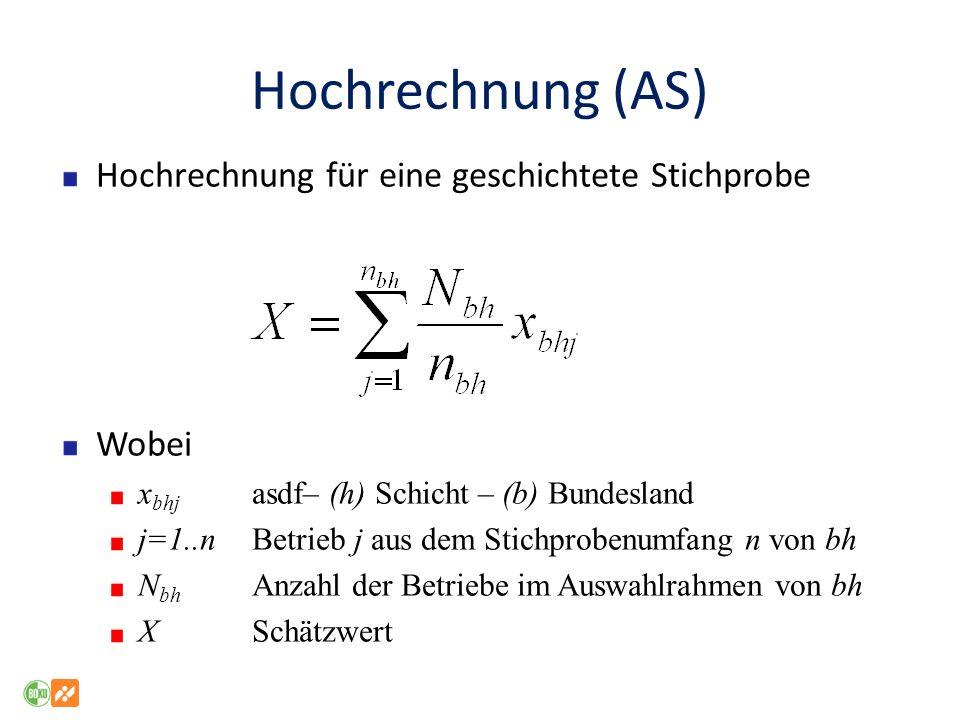 Hochrechnung (AS) Hochrechnung für eine geschichtete Stichprobe Wobei x bhj asdf– (h) Schicht – (b) Bundesland j=1..nBetrieb j aus dem Stichprobenumfa
