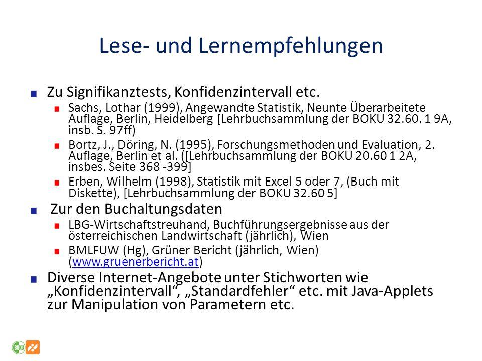 Lese- und Lernempfehlungen Zu Signifikanztests, Konfidenzintervall etc. Sachs, Lothar (1999), Angewandte Statistik, Neunte Überarbeitete Auflage, Berl