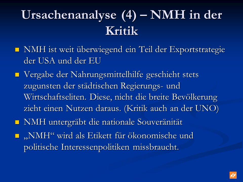 Ursachenanalyse (4) – NMH in der Kritik NMH ist weit überwiegend ein Teil der Exportstrategie der USA und der EU NMH ist weit überwiegend ein Teil der