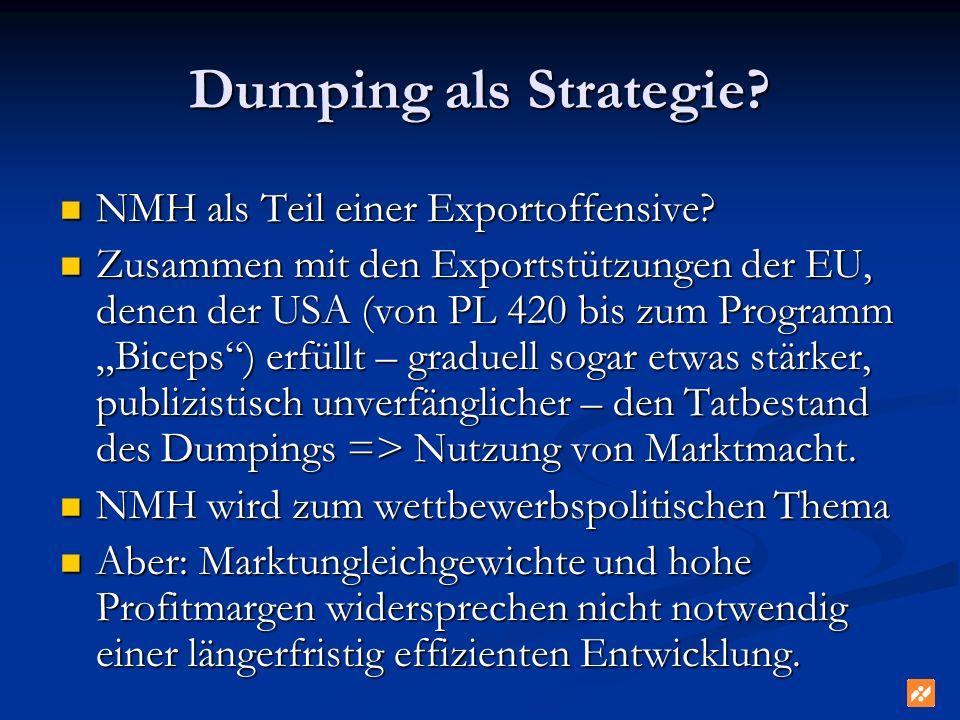Dumping als Strategie? NMH als Teil einer Exportoffensive? NMH als Teil einer Exportoffensive? Zusammen mit den Exportstützungen der EU, denen der USA