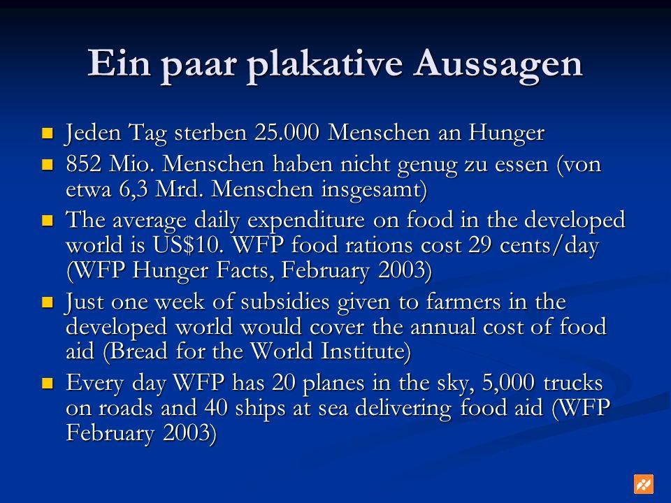 Ein paar plakative Aussagen Jeden Tag sterben 25.000 Menschen an Hunger Jeden Tag sterben 25.000 Menschen an Hunger 852 Mio. Menschen haben nicht genu