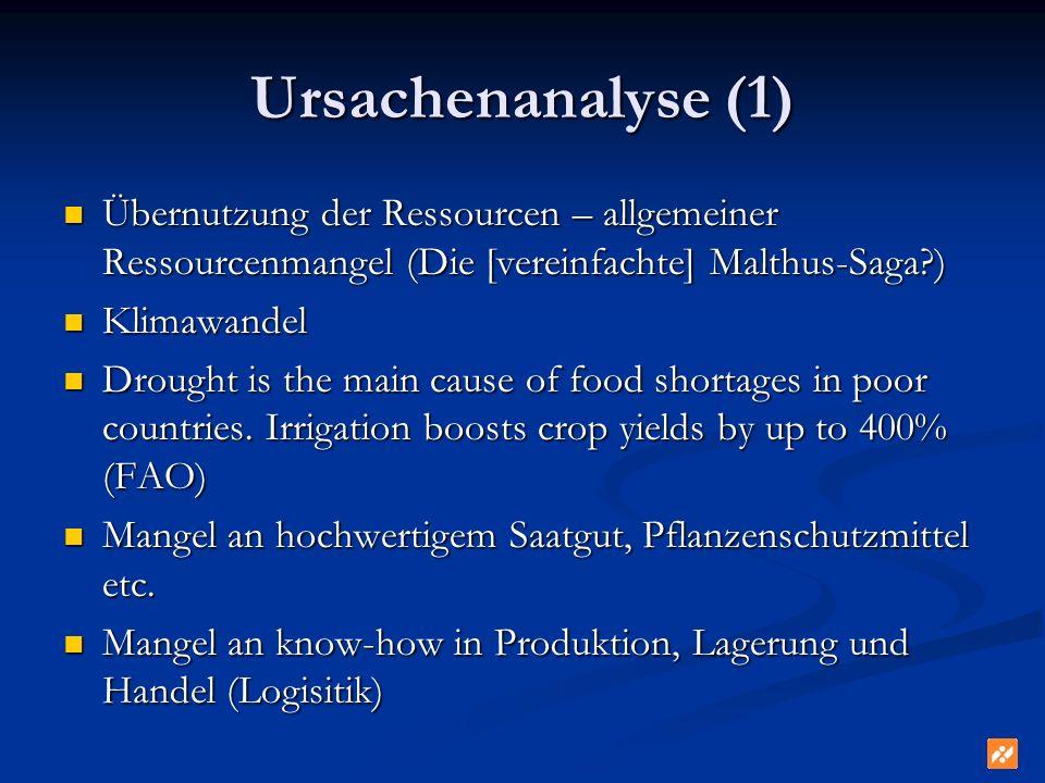 Ursachenanalyse (1) Übernutzung der Ressourcen – allgemeiner Ressourcenmangel (Die [vereinfachte] Malthus-Saga?) Übernutzung der Ressourcen – allgemei
