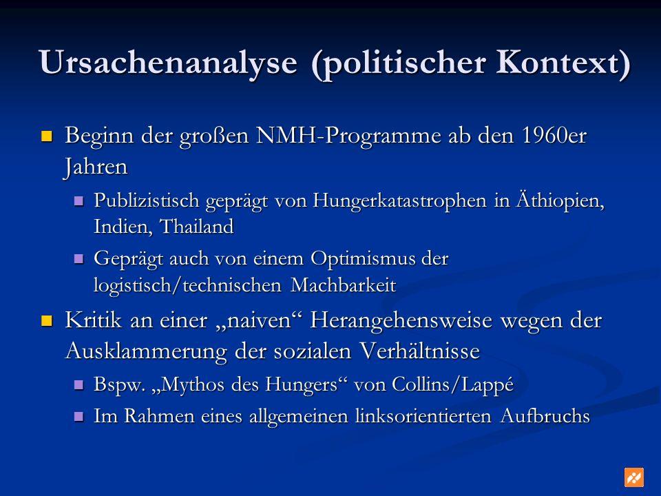 Ursachenanalyse (politischer Kontext) Beginn der großen NMH-Programme ab den 1960er Jahren Beginn der großen NMH-Programme ab den 1960er Jahren Publiz