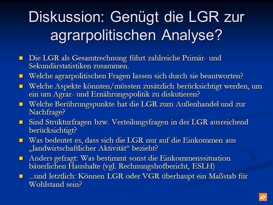 Diskussion: Genügt die LGR zur agrarpolitischen Analyse.