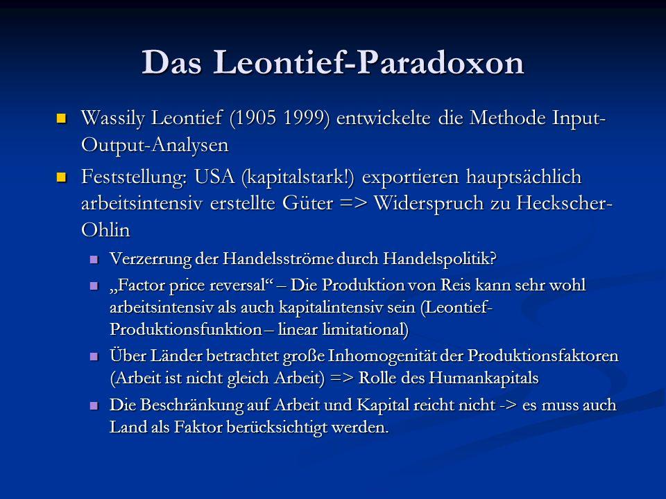 Das Leontief-Paradoxon Wassily Leontief (1905 1999) entwickelte die Methode Input- Output-Analysen Feststellung: USA (kapitalstark!) exportieren hauptsächlich arbeitsintensiv erstellte Güter => Widerspruch zu Heckscher- Ohlin Verzerrung der Handelsströme durch Handelspolitik.