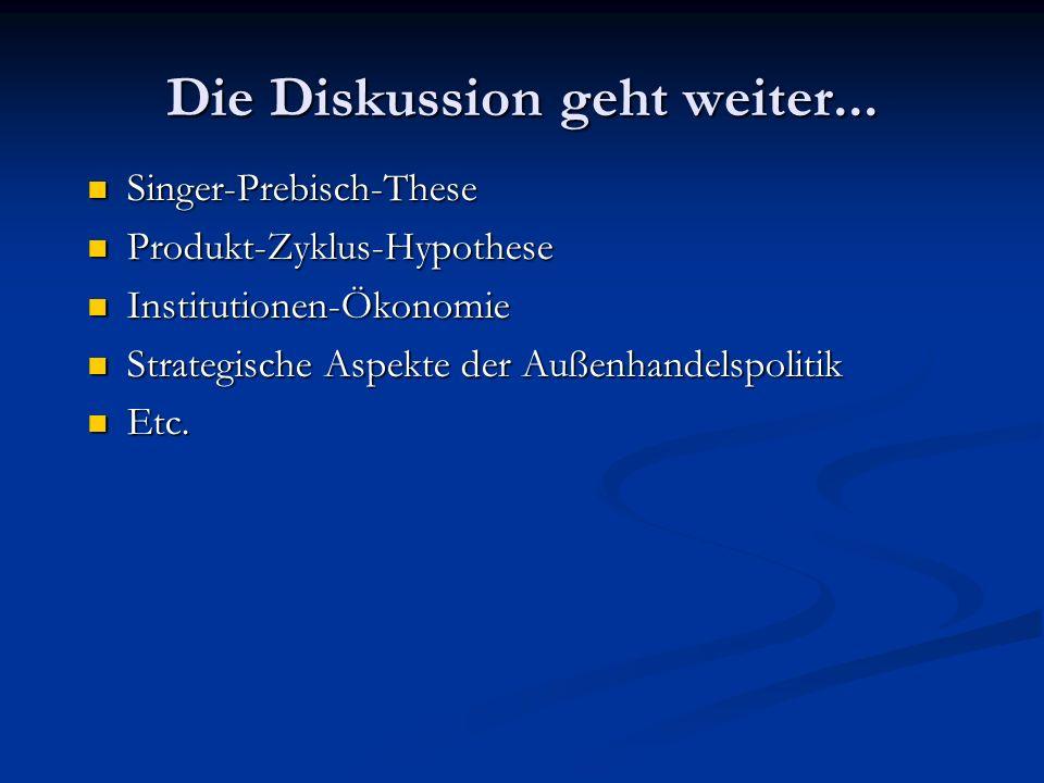Die Diskussion geht weiter... Singer-Prebisch-These Produkt-Zyklus-Hypothese Institutionen-Ökonomie Strategische Aspekte der Außenhandelspolitik Etc.