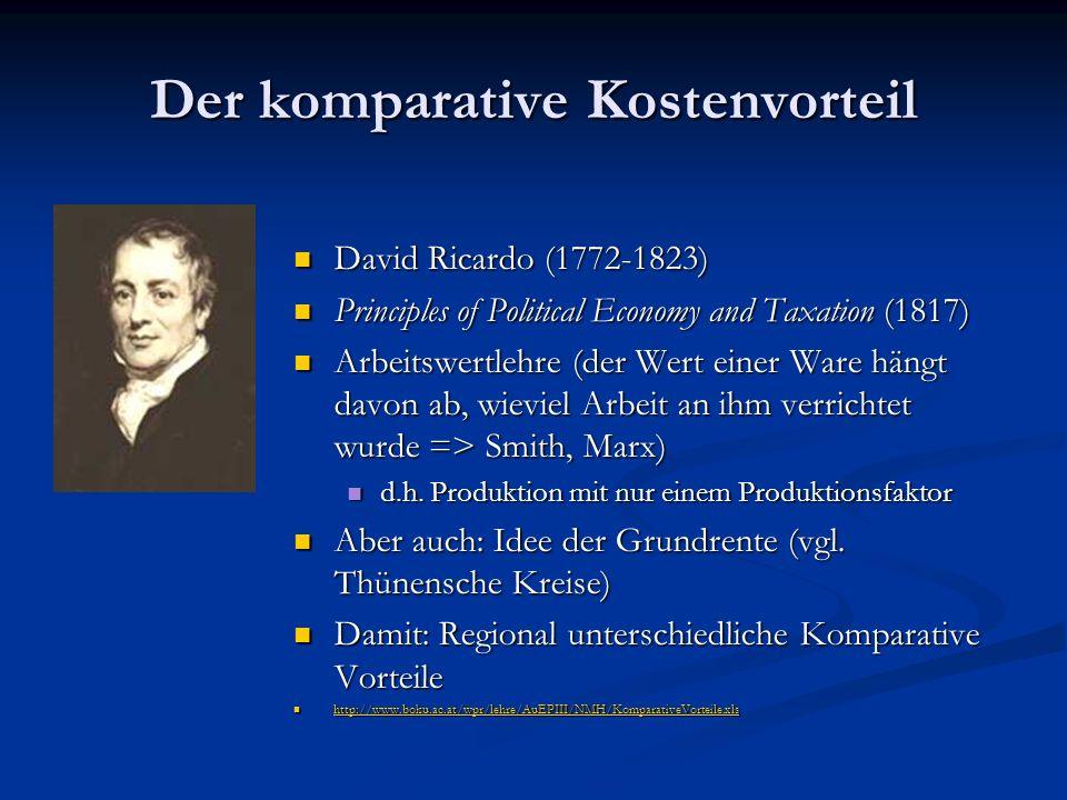 Der komparative Kostenvorteil David Ricardo (1772-1823) Principles of Political Economy and Taxation (1817) Arbeitswertlehre (der Wert einer Ware hängt davon ab, wieviel Arbeit an ihm verrichtet wurde => Smith, Marx) d.h.