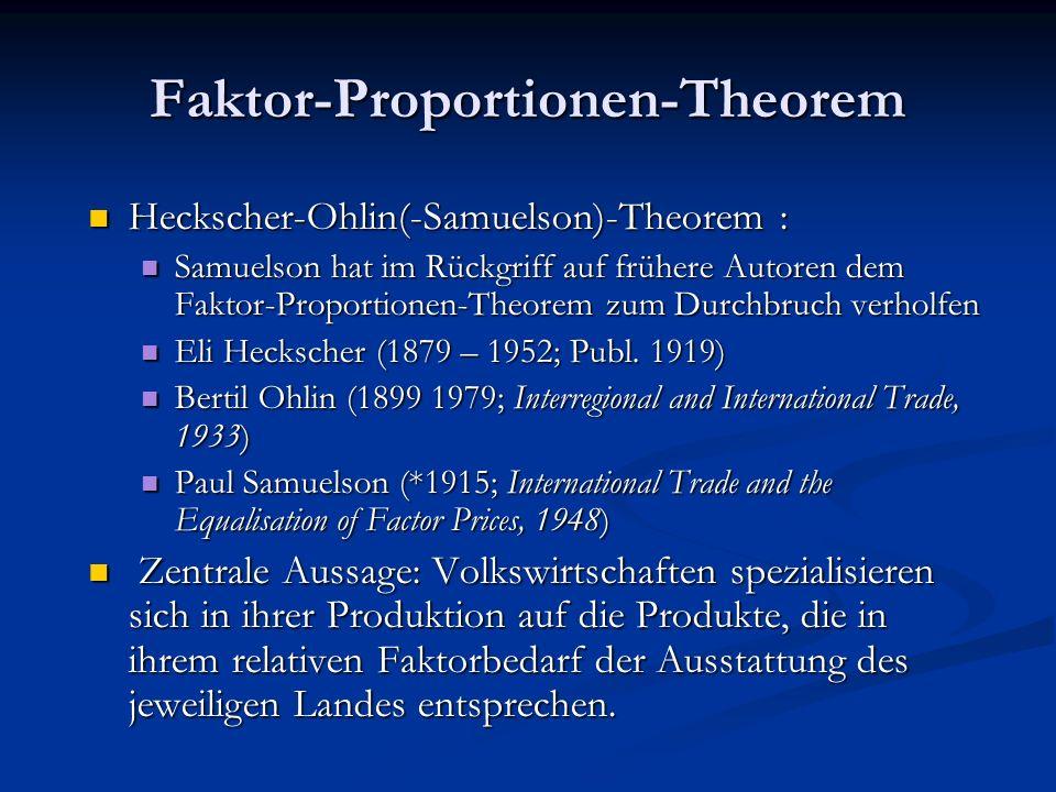 Faktor-Proportionen-Theorem Heckscher-Ohlin(-Samuelson)-Theorem : Samuelson hat im Rückgriff auf frühere Autoren dem Faktor-Proportionen-Theorem zum D