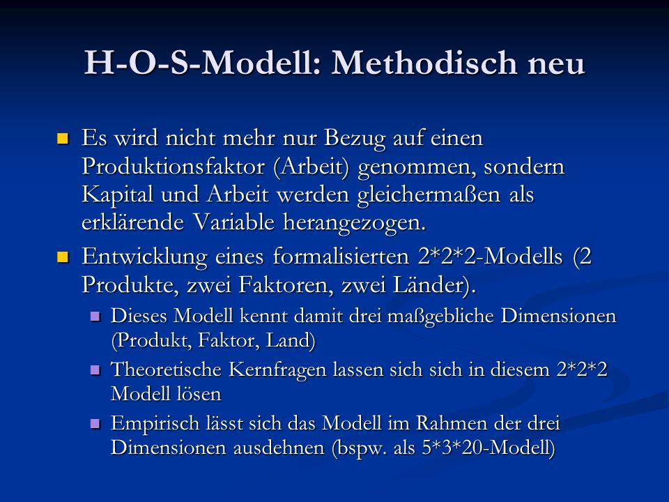 H-O-S-Modell: Methodisch neu Es wird nicht mehr nur Bezug auf einen Produktionsfaktor (Arbeit) genommen, sondern Kapital und Arbeit werden gleichermaßen als erklärende Variable herangezogen.