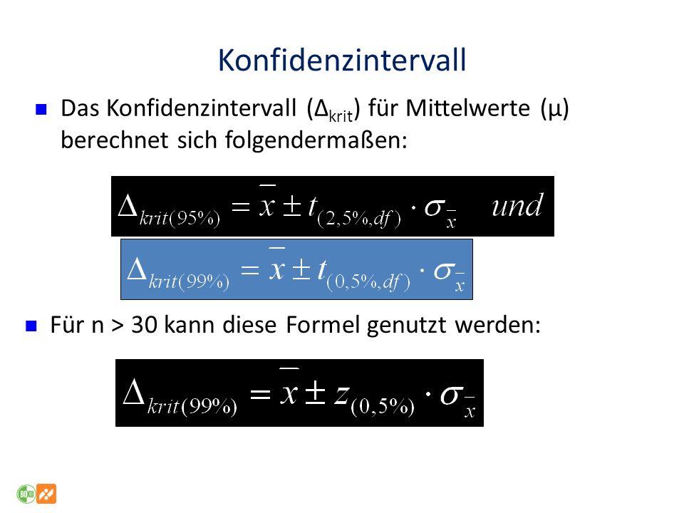 Konfidenzintervall Für n > 30 kann diese Formel genutzt werden: Das Konfidenzintervall (Δ krit ) für Mittelwerte (μ) berechnet sich folgendermaßen: