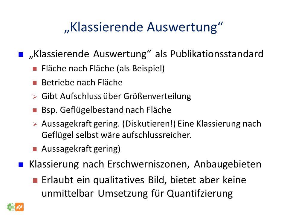 Klassierende Auswertung Klassierende Auswertung als Publikationsstandard Fläche nach Fläche (als Beispiel) Betriebe nach Fläche Gibt Aufschluss über G