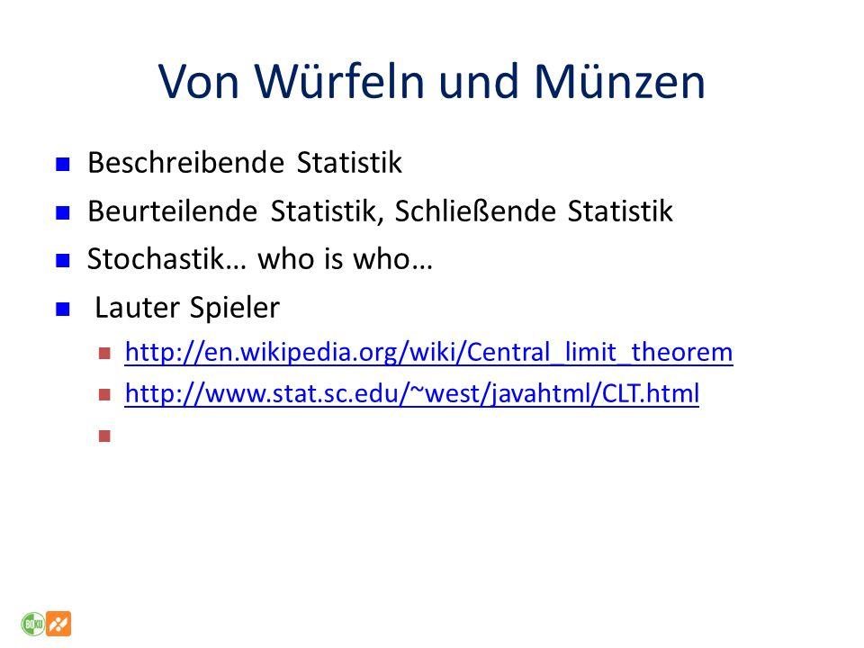 Von Würfeln und Münzen Beschreibende Statistik Beurteilende Statistik, Schließende Statistik Stochastik… who is who… Lauter Spieler http://en.wikipedi
