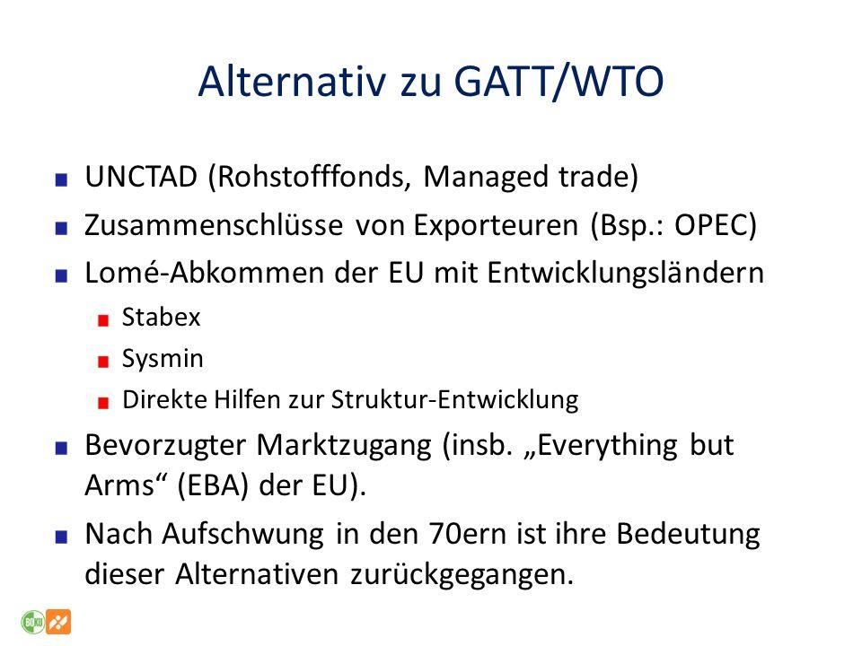 Alternativ zu GATT/WTO UNCTAD (Rohstofffonds, Managed trade) Zusammenschlüsse von Exporteuren (Bsp.: OPEC) Lomé-Abkommen der EU mit Entwicklungsländer