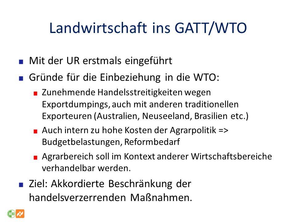 Landwirtschaft ins GATT/WTO Mit der UR erstmals eingeführt Gründe für die Einbeziehung in die WTO: Zunehmende Handelsstreitigkeiten wegen Exportdumpin