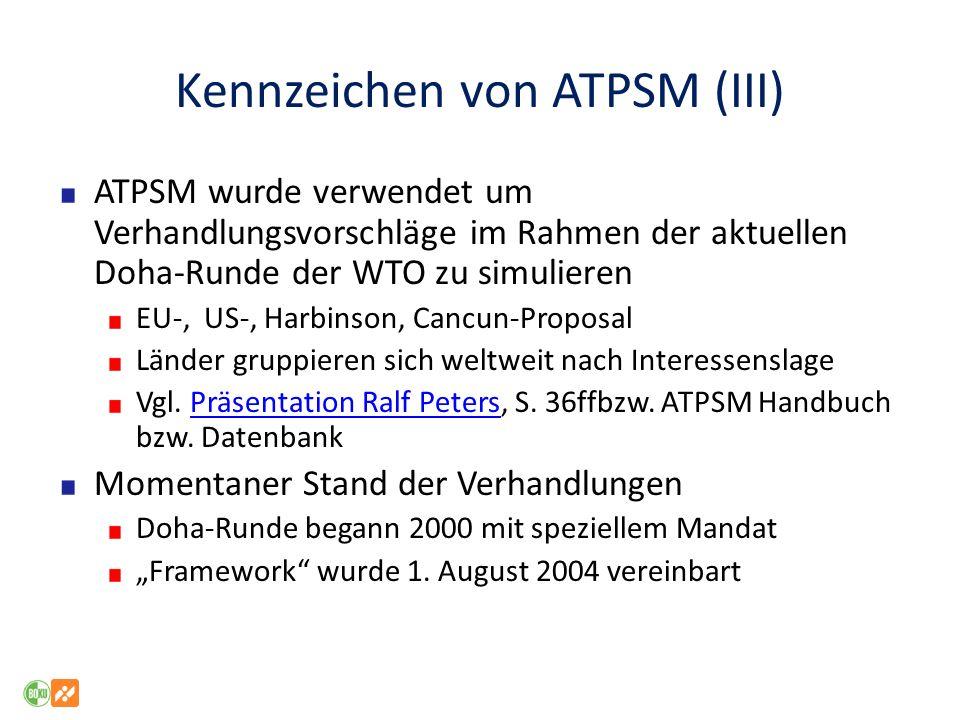Kennzeichen von ATPSM (III) ATPSM wurde verwendet um Verhandlungsvorschläge im Rahmen der aktuellen Doha-Runde der WTO zu simulieren EU-, US-, Harbins