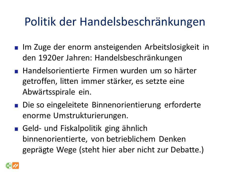 Politik der Handelsbeschränkungen Im Zuge der enorm ansteigenden Arbeitslosigkeit in den 1920er Jahren: Handelsbeschränkungen Handelsorientierte Firme