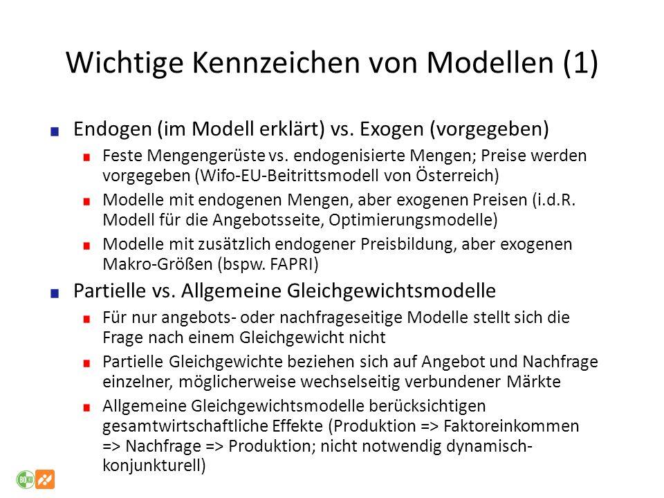 Wichtige Kennzeichen von Modellen (1) Endogen (im Modell erklärt) vs. Exogen (vorgegeben) Feste Mengengerüste vs. endogenisierte Mengen; Preise werden